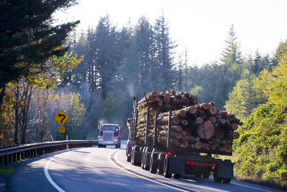 Big rig hauling logs down a highway passing another big rig
